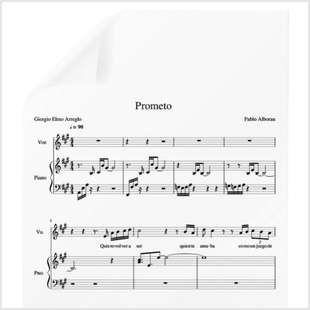 Prometo Pablo Alboran Pdf Partitura Piano Y Voz Arre By Giorgio Elmo