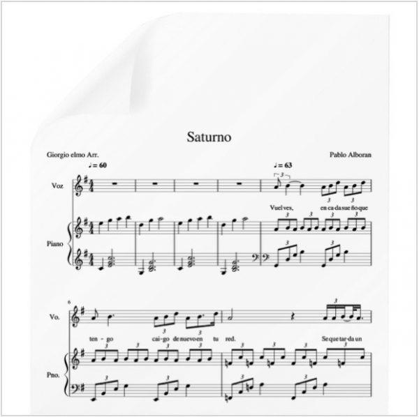 Saturno Pablo Alboran Pdf Partitura Piano Y Voz Arr By Giorgio Elmo