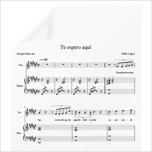 Te Espero Aquí Pablo López Pdf Partitura Piano Y Voz Arr By Giorgio Elmo