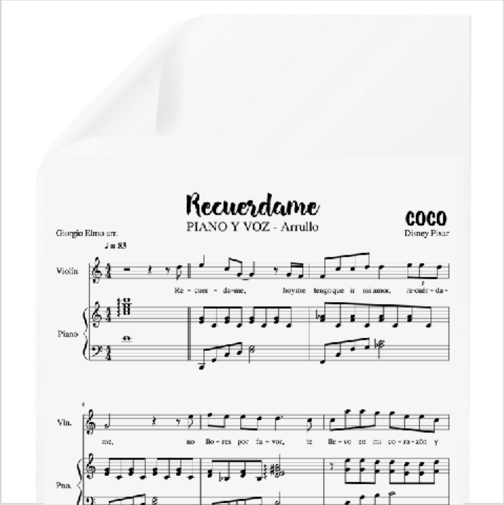 Recuérdame Arrullo Coco Disney Pdf Partitura Piano Y Voz Arr By Giorgio Elmo