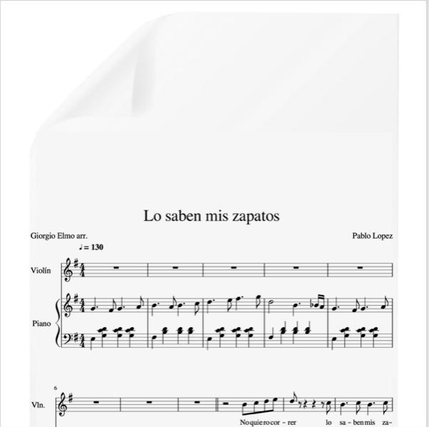 Lo Saben Mis Zapatos Pablo Lopez Pdf Partitura Piano Y Voz Arr By Giorgio Elmo